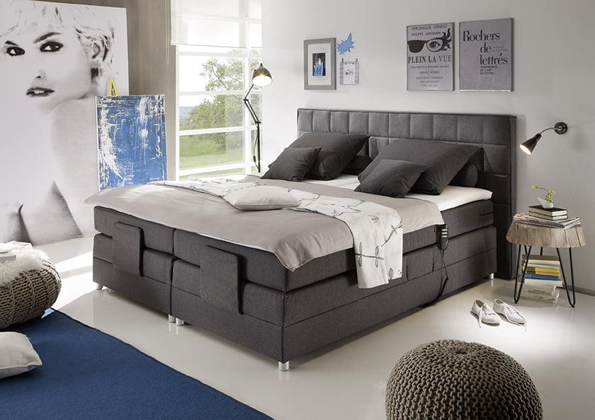 Boxspring sivo - rjava postelja