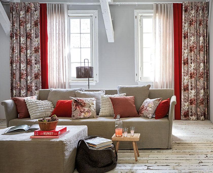 zavese hišni tekstili postopek dnevna soba kombinacija