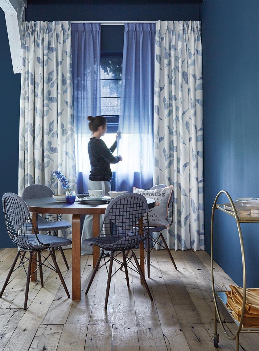 zavese modra kombinacija paneli nagubana
