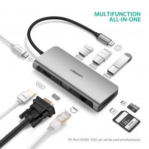 Ugreen Type C Multifunkcijski USB hub siv - Ugreen Hub - priključna postaja USB-C z več priključki