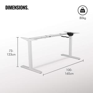 VonHaus električen Sit/Stand okvir za mizo bela - Ergonomsko oblikovan za boljšo držo in zmanjšanje tveganja za bolečine v hrbtu in ramenih