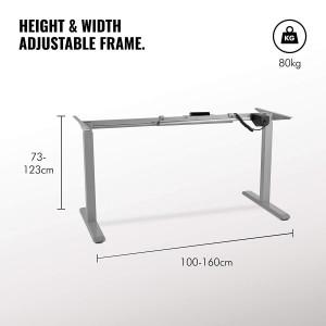 VonHaus električen Sit/Stand okvir za mizo siva - Ergonomsko oblikovan za boljšo držo in zmanjšanje tveganja za bolečine v hrbtu in ramenih