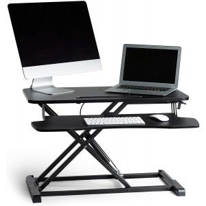 VonHaus Sit/Stand delovna platforma - Stabilna in močna platforma iz trpežnega jekla z veliko delovno površino