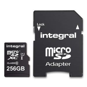 INTEGRAL 256GB SMARTPHONE & TABLET MICRO SDXC class10 UHS-I U1 90MB/s SPOMINSKA KARTICA+ SD ADAPTER - tip: MICRO SDXC CLASS10 UHS-I U1kapaciteta: