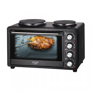 Adler električna pečica z grelnima ploščama 36L - Visoko kakovostna električna pečica z dvema nastavljivima kuhalnima ploščama na vrhu