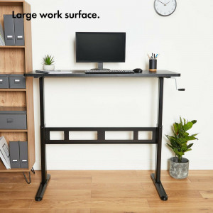 VonHaus nastavljiva Sit&Stand delovna miza črna - Za udobno delo ali učenje sede ali stoje