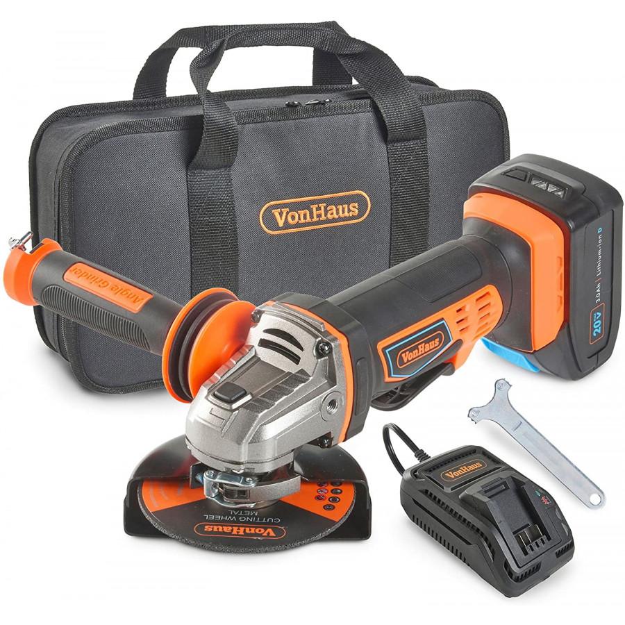 VonHaus 115m akumulatorski kotni brusilnik + 20V D-Series 3.0Ah baterija 3500006 - Priložena baterija 20 V Max Ah je združljiva z drugimi orodji v seriji 20