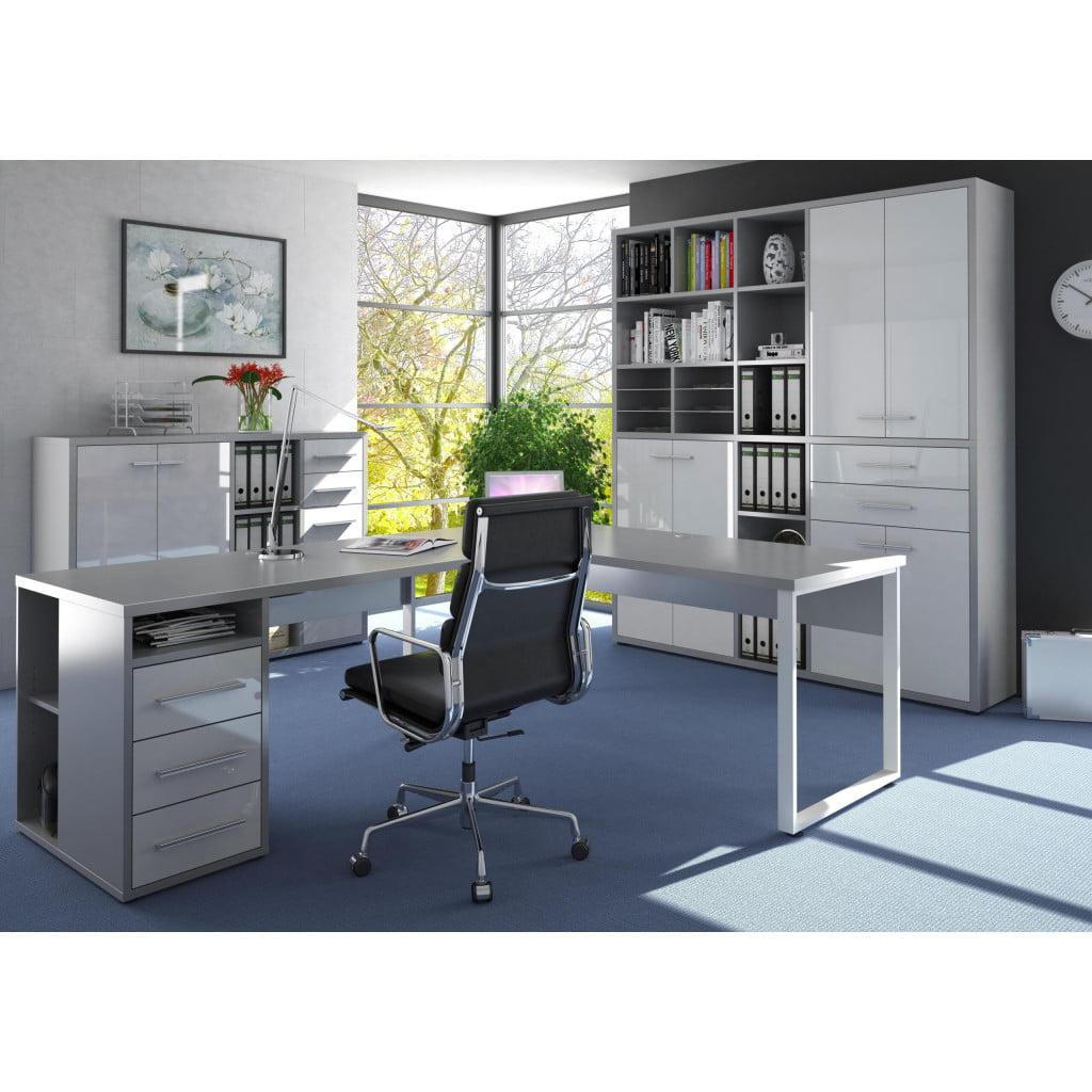Kotna pisalna miza in pisarniški predalnik