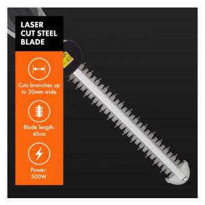 VonHaus električne škarje za živo mejo 500W - Močna dvojna 45cm lasersko rezana jeklena rezila brez napora narežejo veje do debeline 20 mm
