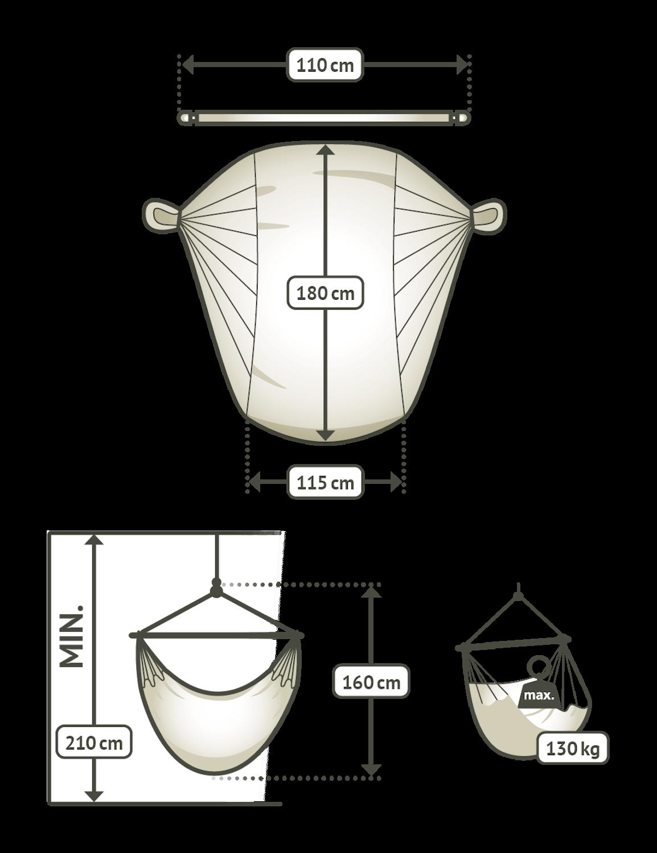 Comfort viseči stol iz bombaža HABANA Volcano