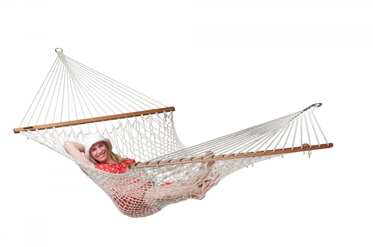 Družinska viseča mreža z robnimi palicami VIRGINIA Ecru
