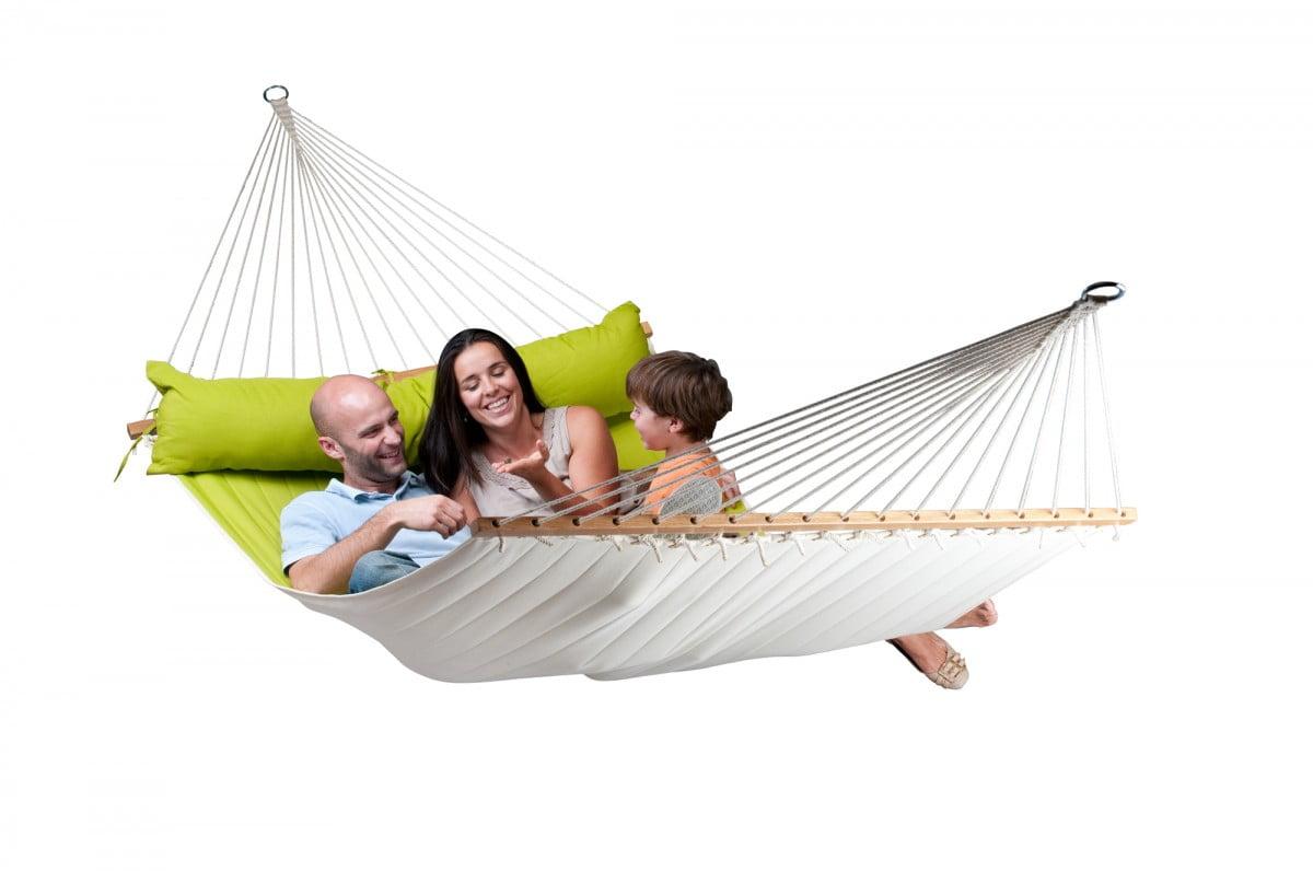 Družinska zunanja viseča mreža z robnimi palicami ALABAMA Avocado