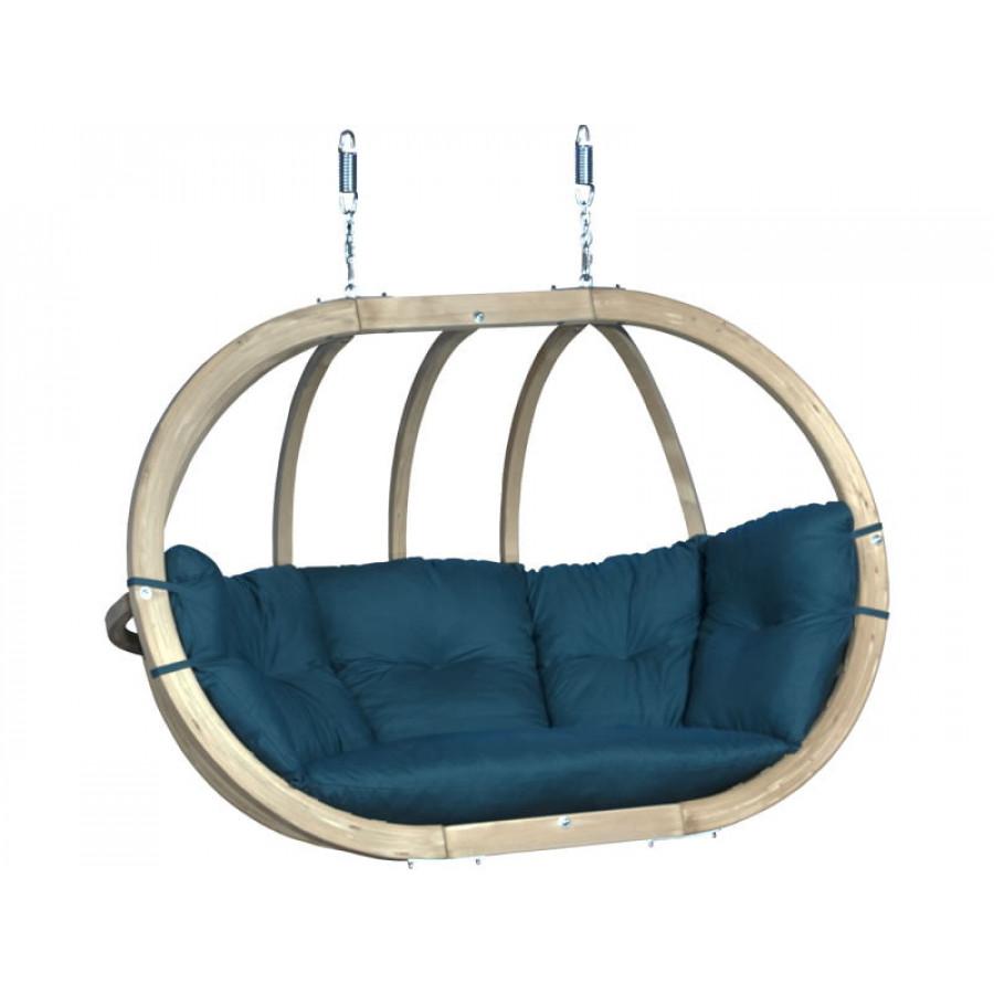 Dvojni leseni viseči fotelj Globo Swing Blue