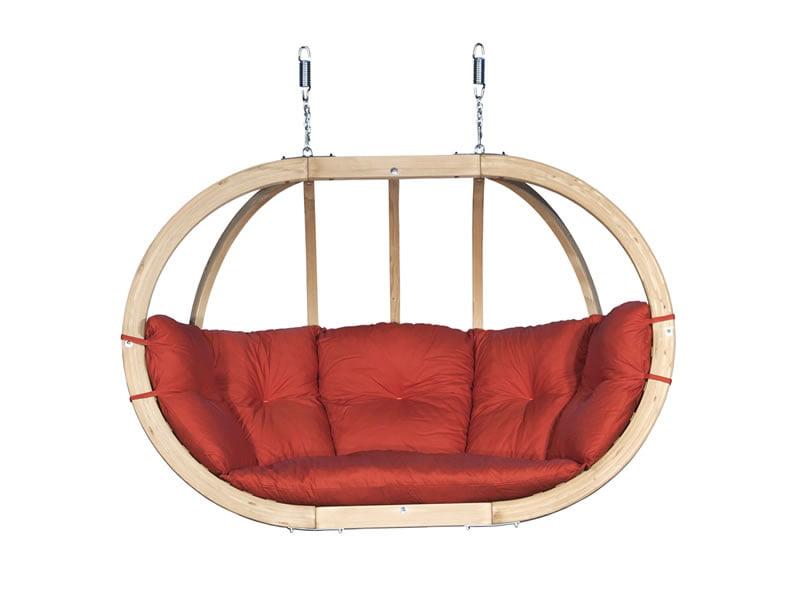 Dvojni leseni viseči fotelj Globo Swing Terracota