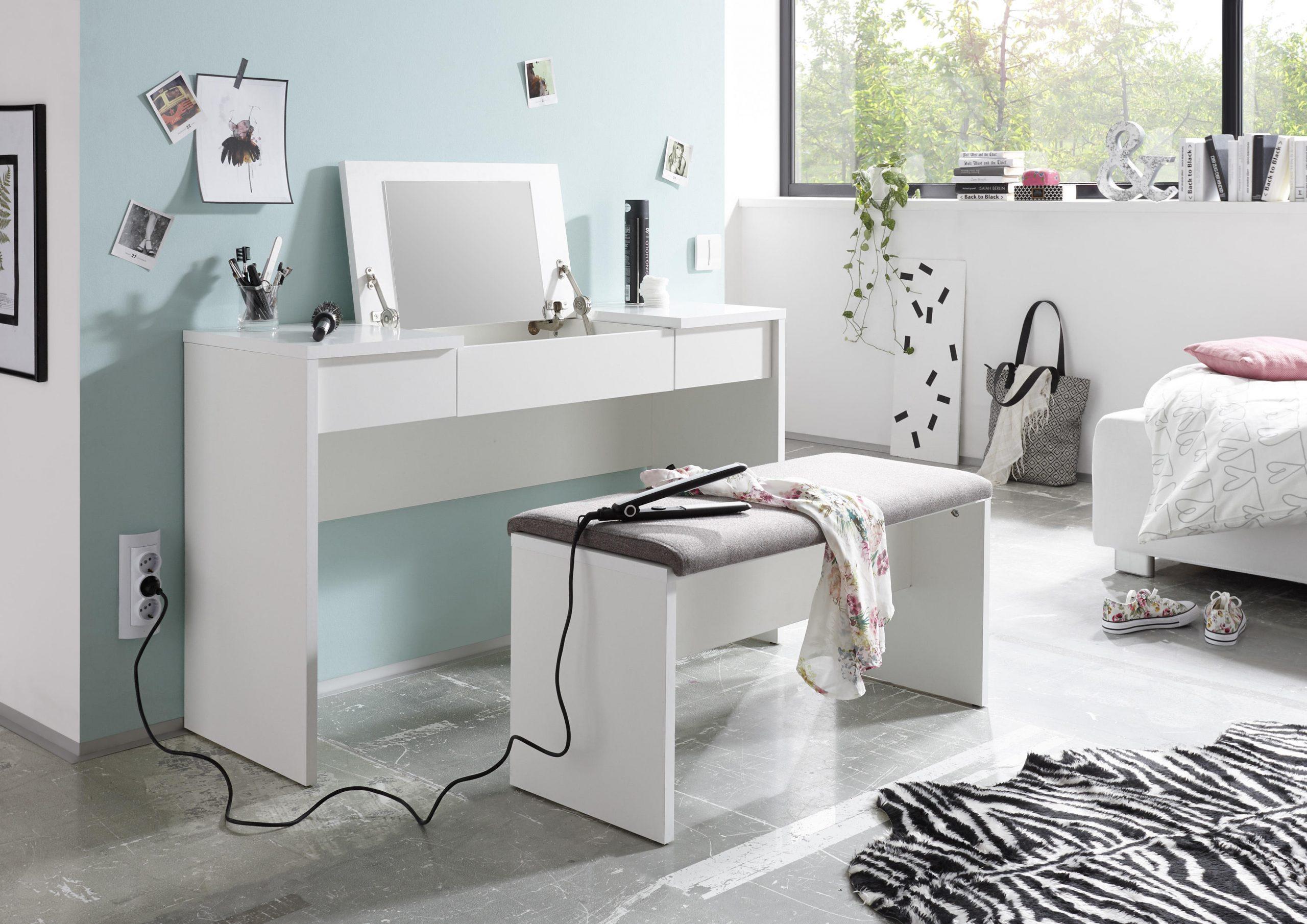 Kozmetične mize - Kozmetična miza z klopjo in z ogledalom
