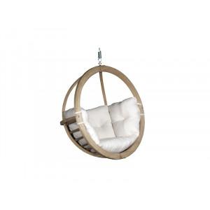 Leseni viseči fotelj Globo Swing Ecru