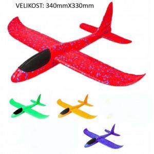 PROSTOLETEČE LETALO L /340X330mm-COLOR MIX - Lahka letala iz trpežnega in odpornega materijala na udarce. Aerodinamična oblika izboljša zmožnost letenja v