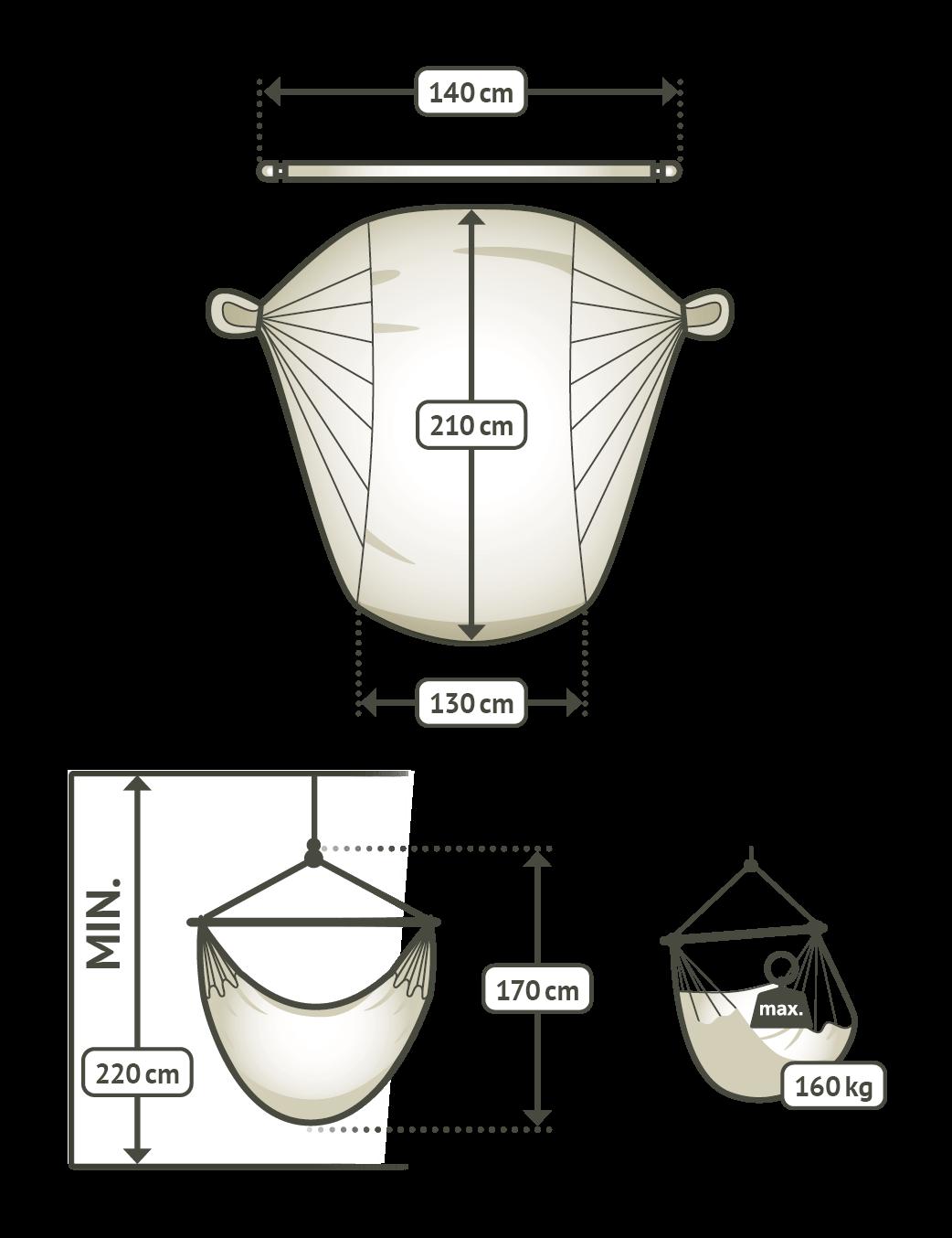 Velik zunanji viseči stol DOMINGO Lime