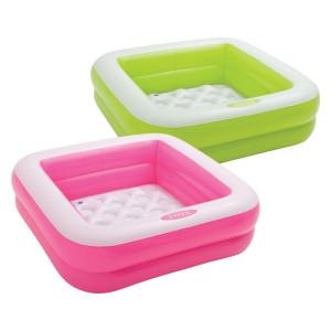 Napihljiv bazen INTEX® za zabavo na vašem vrtu ima napihljivo dno. Dimenzije bazena znašajo 85 x 85 x 23 cm.  Izdelek naj se uporablja pod nadzorom odrasle osebe.OPOZORILA (na embalaži): Izdelek se lahko uporablja samo pod nadzorom odrasle osebe. Nikoli ne puščajte otroka brez nadzora - nevarnost utopitve. Otroci se lahko utopijo v zelo majhni količini vode. Izpraznite bazen