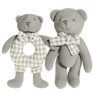 Set dveh prikupni medvedek v sivi barvi naj postaneta najboljša prijatelja vašega malčka.Od rojstva dalje