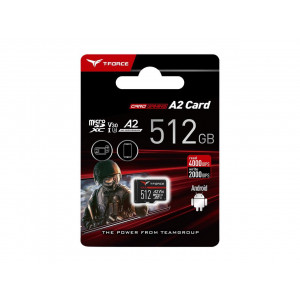 Teamgroup  Gaming A2 512GB MicroSD UHS-I U3 V30 100/90MB/s spominska kartica - T-FORCE Gaming A2 kartica je namenjena vse bolj zahtevnim uporabnikom ter