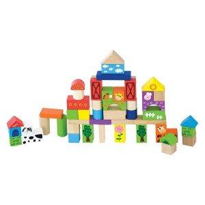 Komplet 50 lesenih barvnih kock različnih oblik navdihuje otroka